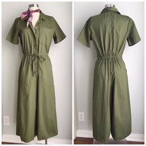 MADEWELL Wide Leg Utility Olive Jumpsuit 6 NWT